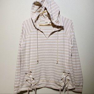 NWT Michael Kors Cream Striped Front Tie Hoodie M